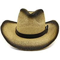 TX GIRL Western Cowboy Hat Western Cowboy Hat Sun Hat for Men Cowgirl Summer Hats for Women Lady Straw Panama Sun Hat with Fashion Belt Novelty Party Costumes (Color : 3, Size : 56-58CM)
