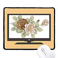 白いバラバラの花の葉 マウスパッド・ノンスリップゴムパッドのゲーム事務所