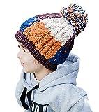 (ビグッド)Bigood 子供 帽子 キッズ 可愛い ニット帽 女の子 男の子 耳あて ポンポン ニットキャップ 通学 通園 クリスマス プレゼント(カーキ)