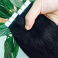 FidgetGear 再使用可能なRemyの人間の毛髪延長の7A継ぎ目が無い16-26inch PUの皮のよこ糸テープ #01漆黒