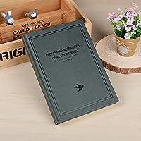 クリエイティブなシンプルな日記A5の目を肥厚させる学生ノートブックの文房具ハードコピービジネスメモ , simple black green bird - medium