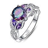 JQUEEN レディースリングrainbow topaz & sapphire 925スターリングシルバー 虹 指輪 十一月誕生石 誕生日 プレゼント 婚約指輪 可愛いリング