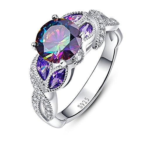 [해외]JQUEEN 여성 반지 rainbow topaz &  sapphire 925 스털링 실버 무지개 반지 십일월 탄생석 생일 기념일 선물 선물 약혼 반지 귀여운 반지/JQUEEN Women`s Ring rainbow topaz &  sapphire 925 Sterling Silver Rainbow Ring November birthstone bir...