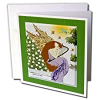 SmudgeArt All Thingsクリスマス – Angel Playing Harp in A Garden – クリスマスアート9 – グリーティングカード Set of 12 Greeting Cards