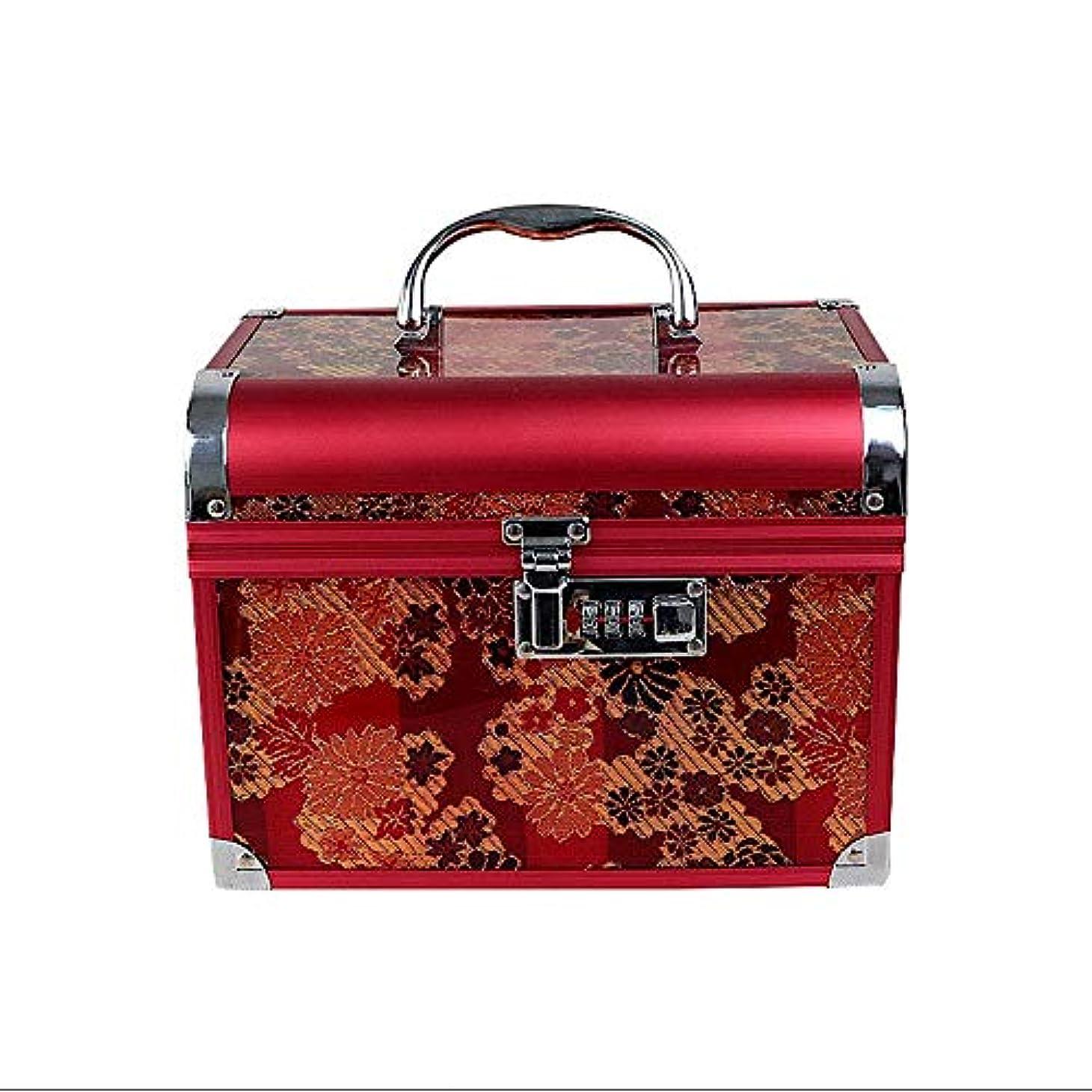 オリエンテーション止まるカプラー化粧オーガナイザーバッグ 美容メイクアップのための大容量ポータブル化粧ケース、女性用女性用旅行用品、コード付きロック付き折り畳みトレイ 化粧品ケース