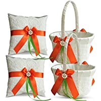 アレックス?感情アイボリーリングベアラー枕とバスケットセット レースコレクション フラワーガール& Welcomeバスケットのゲスト 手作りウェディングバスケット&枕(オレンジライム) 2 Pillows + 2 Baskets R-B1P1-I-ORGLM-2 Pillows + 2 Baskets