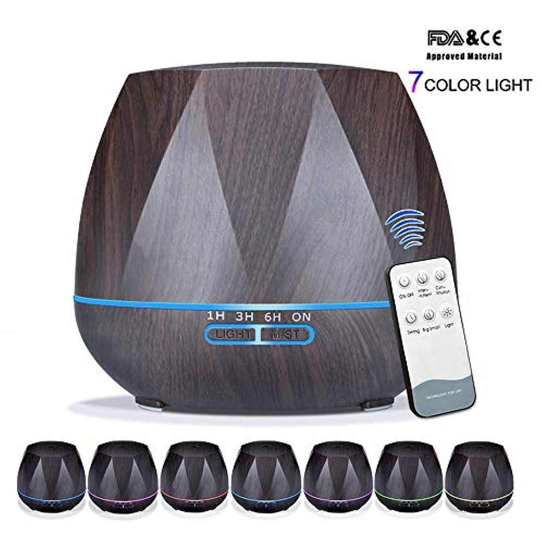 お客様軌道フライカイトアロマセラピーエッセンシャルオイルアロマディフューザーリモートコントロール7色LEDライトホームエアアロマディフューザー加湿器550ML,Black,Remote