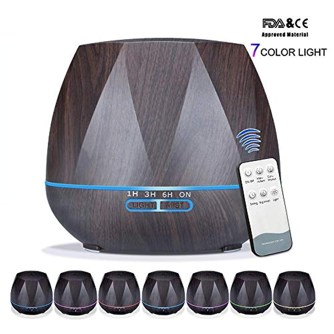 アロマセラピーエッセンシャルオイルアロマディフューザーリモートコントロール7色LEDライトホームエアアロマディフューザー加湿器550ML,Black,Remote
