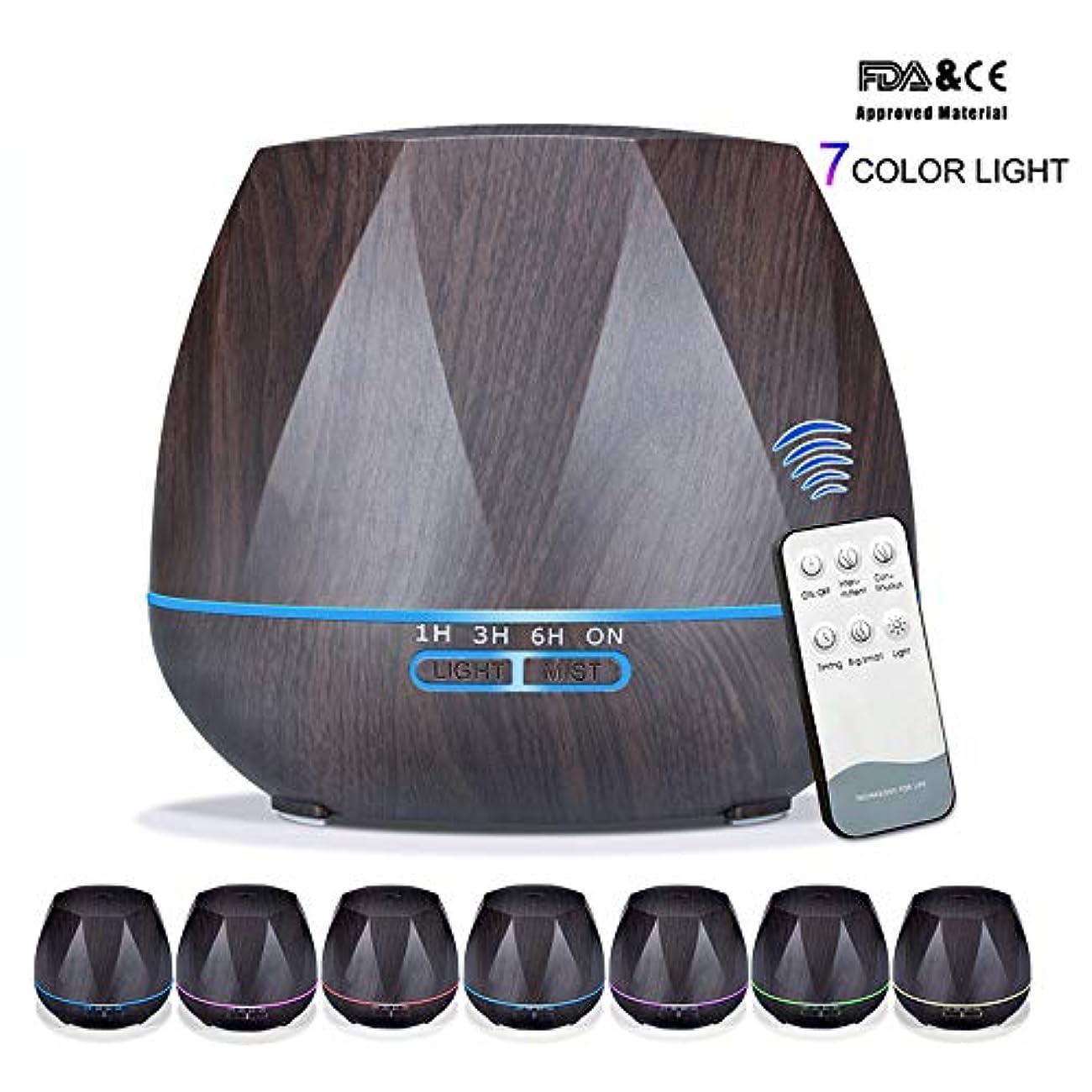 更新コンセンサス経験的アロマセラピーエッセンシャルオイルアロマディフューザーリモートコントロール7色LEDライトホームエアアロマディフューザー加湿器550ML,Black,Remote