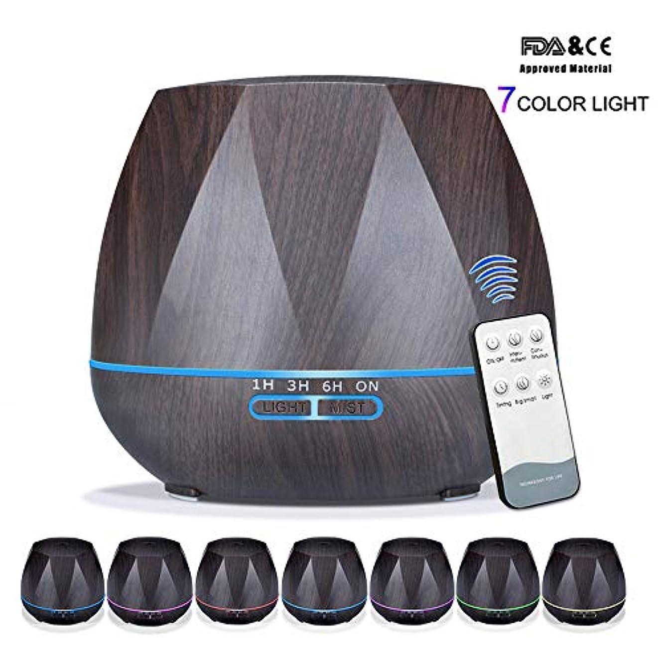 一貫性のない六月資金アロマセラピーエッセンシャルオイルアロマディフューザーリモートコントロール7色LEDライトホームエアアロマディフューザー加湿器550ML,Black,Remote