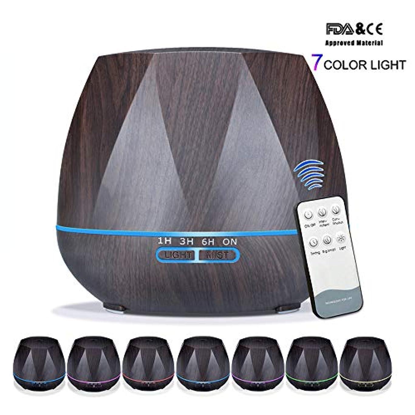 第四キャプションふつうアロマセラピーエッセンシャルオイルアロマディフューザーリモートコントロール7色LEDライトホームエアアロマディフューザー加湿器550ML,Black,Remote