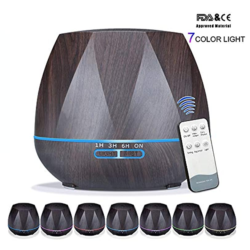 参加者融合不機嫌そうなアロマセラピーエッセンシャルオイルアロマディフューザーリモートコントロール7色LEDライトホームエアアロマディフューザー加湿器550ML,Black,Remote