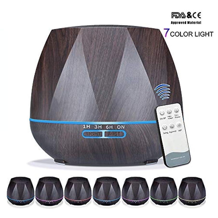 ジャングルトランスミッション直径アロマセラピーエッセンシャルオイルアロマディフューザーリモートコントロール7色LEDライトホームエアアロマディフューザー加湿器550ML,Black,Remote