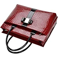 Chinatera Women's Crocodile Shoulder Bags Tote Handbag Purse Leather Bag One Size Red