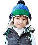 Toyobuy(トヨベイ) キッズ 子供 女の子 男の子 秋冬 スポーツ 暖かい 厚手 ポンポン付き 耳あて 防風 防寒 バラクラバ マスク 耳まで スキー 帽子 ブルー M