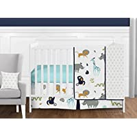 Sweet Jojo Designs 11-Piece Turquoise and Navy Blue Safari Animal Mod Jungle Baby Boy or Girl Crib Bedding Set without Bumper s [並行輸入品]