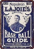 なまけ者雑貨屋 アメリカン 雑貨 ナンバープレート 1908 LaJoie's Baseball Guide ヴィンテージ風 ライセンスプレート メタルプレート ブリキ 看板 アンティーク レトロ