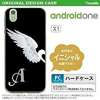 X1 スマホケース androidone ケース アンドロイドワン イニシャル 翼(ペア) 黒(左) nk-x1-477ini P