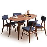 ダイニングテーブル テーブル チェア 5点セット 4人掛け 楕円 突板 食卓 幅150 ウォルナット