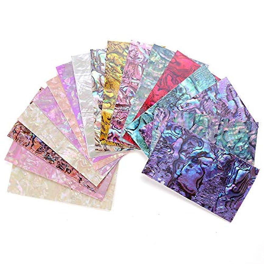 温帯色許可するSUKTI&XIAO ネイルステッカー 15色シェルアワビネイルステッカーグラデーションマーメイドスケールマーブルフィルムアップリケプラスチックネイルアート