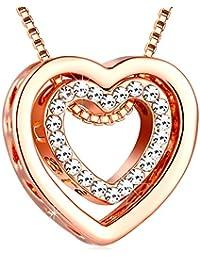 バレンタインの日ギフトハートネックレス–murtooクリスタルLoveジュエリー925シルバーペンダント