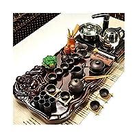 ティーテーブル 木製ティートレイ、ティーサービス、ティートレイ、ティーカップセット、中国のカンフーティーセットホームシンプルな自動ティーポット、セラミックカンフーティーセット (Color : A)