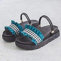 女性のためのサンダル、女性のための剣闘士サンダルプラットフォームサンダル2つの方法で格好良い靴快適なフリル付きフラットシューズ,Agreen,38