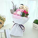 MINENA ソープフラワー 石鹸 花 バラ 造花 花束 二つクマの人形が付き 父の日 誕生日 結婚祝い 結婚記念日のプレゼントにお勧め (ピンク)
