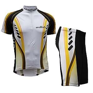 Wellcls サイクルウェア 半袖 上下セット 自転車 サイクリング サイクルジャージ (イエロー, S)