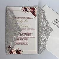 50本の優雅なレースのバレンタインデーカードレーザーカット招待状卸売結婚式招待状カードパーティー用品3dポップアップカード