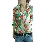 (深セン アイビー詩) SZIVYSHI 女性シャツ花柄フラワー プリントのターン ダウン襟ボタン シフォン ブラウス
