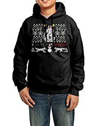 Dera Princess オオカミのクリスマスロゴ プリント ボーイズ フード付き 長袖 スウェットパーカー 100% 綿 フーディー ジュニア ユース トップス ブラック 子供用 キッズ
