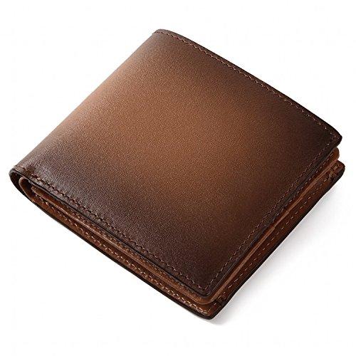 (ラファエロ) Raffaello 一流の革職人が作る スフマート製法で仕立てた二つ折財布 (チョコ)