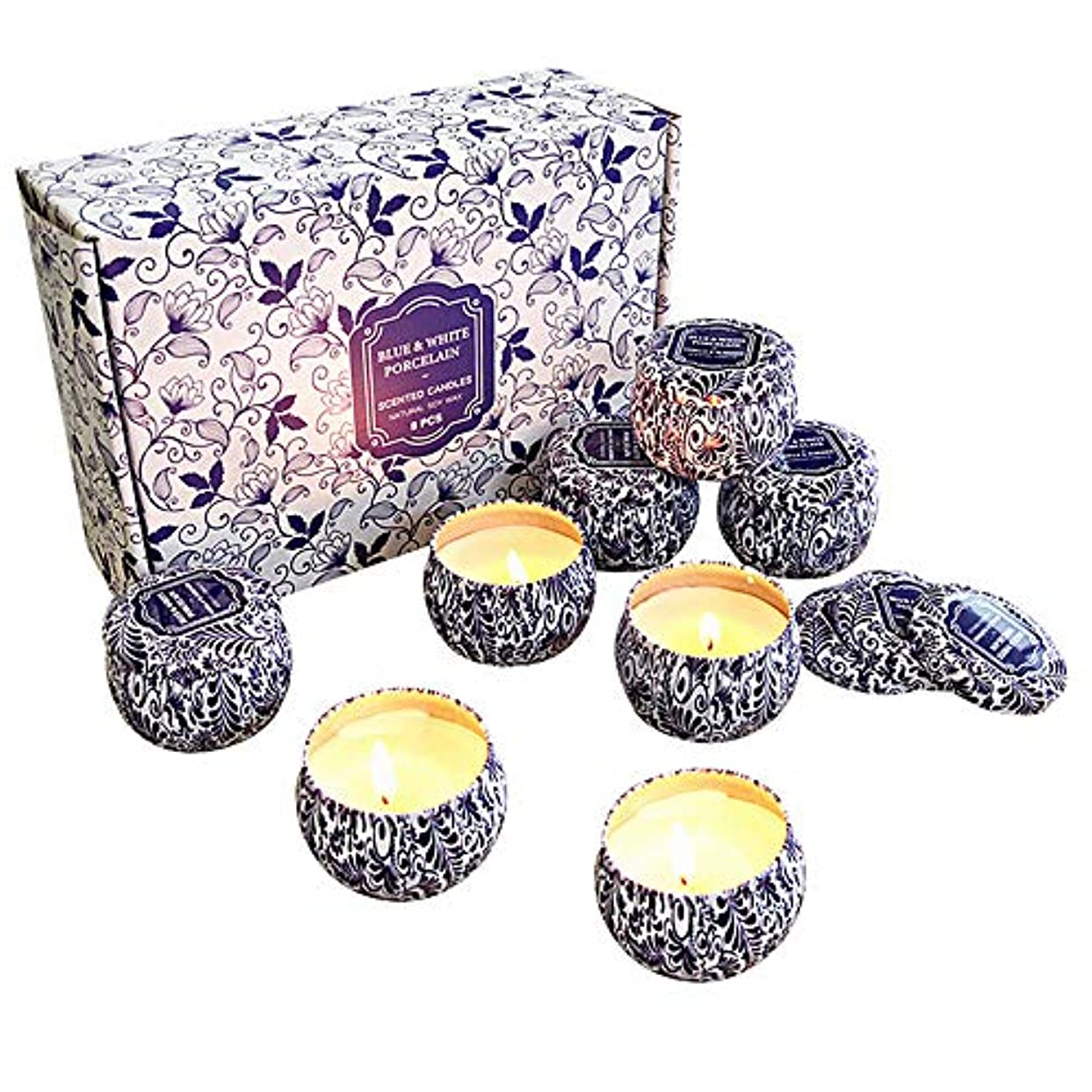 水怠な剥離香りのキャンドルギフトセット、大豆ワックスナチュラルビーガンキャンドルの香りが温かく居心地の良い雰囲気を作成、男性または女性のためのストレスリラックスキャンドルギフト、8個