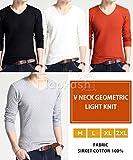 [Flapkash(フラップカッシュ)] Vネック ジオメトリック ライトニット シンプル デザイン カジュアル 春 夏 メンズ 画像