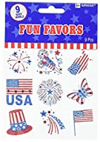 Amscan Star Spangled 4th of July Patriotic Stars & Stripes Body Jewelry (9 Pack) Multi Color 6.8 x 4.6 [並行輸入品]