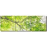 絵画 風景画 立ち木 グリーン LB アートパネル 絵画 インテリア 壁掛けアート (額付きの完成40*40cm*3pcs