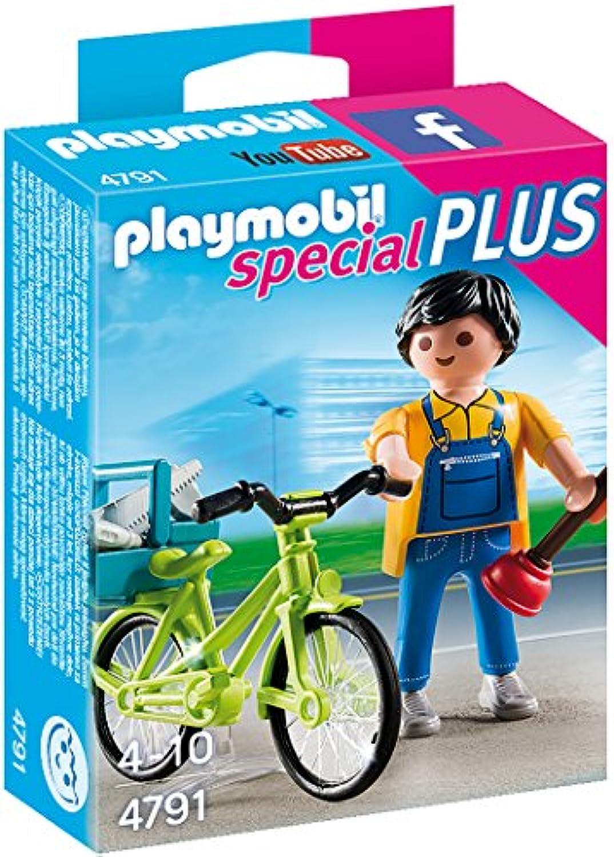 PLAYMOBIL (プレイモービル) Handyman with Bike Building Kit(並行輸入品)