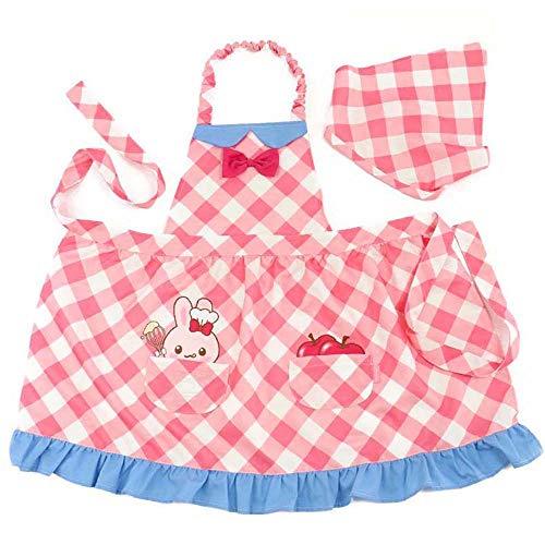 マザーガーデン Mother garden うさももちゃん キッズエプロン 子供用 クッキング エプロン 三角巾付き ピンクチェック柄 (130cm)