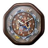 ワンピースからくり 掛け時計 4MH880-M06 ブラウン キャラクター インテリア 時計 掛け時計 [並行輸入品]