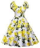 ドレスワンピース レディース,ミニドレス ヨーロッパとアメリカ合衆国の夏のレトロなヘップバーンスタイルのレモンイエローのプリントは薄くて大きな弾性ドレスでした ドレス スーツ 洋服 (色 : 白, サイズ さいず : L l)