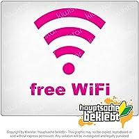 無料WiFi Free WiFi 12cm x 11cm 15色 - ネオン+クロム! ステッカービニールオートバイ