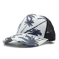 RXY-帽子 ファッション女性の男性夏のシーサイドメッシュ野球帽とココナッツの木海辺の休日のトラッカーの帽子 (色 : 青, サイズ : 56〜60CM)