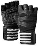 ACEFITS トレーニンググローブ ウェイトリフティング ジム グローブ 筋トレ 手首固定 リストラップ 付き ブラック M