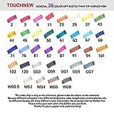 Touchnew 水彩毛筆 マーカーペン ダブルペン先/ツイン先 +A4ドローイングブック+Parblo 2本の指グローブ+ペンシルバッグ (36色)