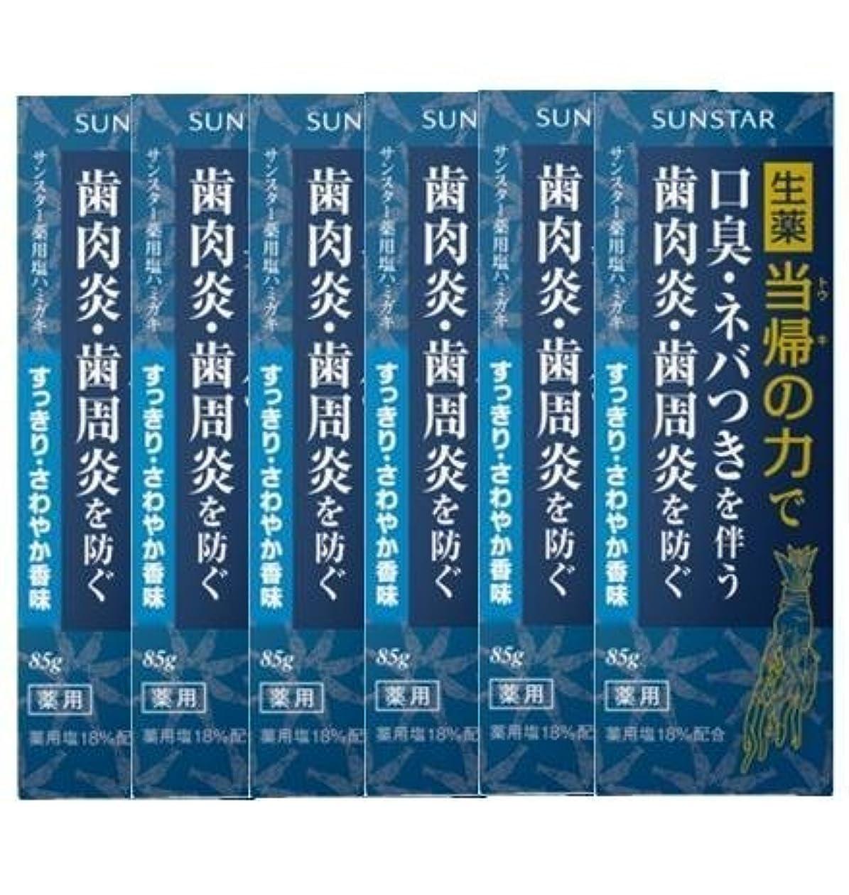 どきどき受粉するどうやら薬用ハミガキ 生薬 当帰の力 さわやか香味85g×6個セット