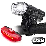 Bike Lights,Bike Headlight with [Free Biicycle Taillight], LERMX USB Rechargeable Waterproof Bicycle Lights Set Powerful Lumens LED Bike Front and Back for Kids Adults Road Cycling Safety Flashlight