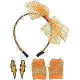 YeahiBaby 80sファンシー衣装アクセサリーセットヘッドバンドイヤリングフィッシュネット手袋セット80sパーティー用品(オレンジ)