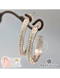 【Petit Lulu shop】ピアス レディース AAA級ダイヤモンドCZ ゴージャス パヴェ フープ 18KRGP プチルルオリジナルピアス3点セッ...