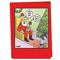 サンタGarlic Breathクリスマスユーモアカード 12 Christmas Cards & Envelope (SKU:C4532XSG-B12)